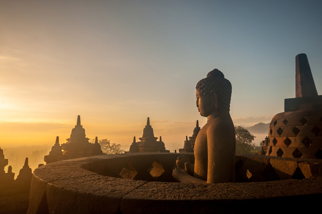 Borobudur Temple at sunrise Yogyakarta Java Indonesia. (silhouette scene)