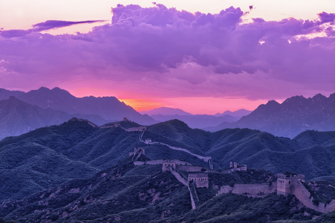great wall with sunset,which is landmark of beijing and china