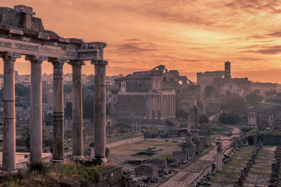 Rome, Italy: The Roman Forum  in the sunrise